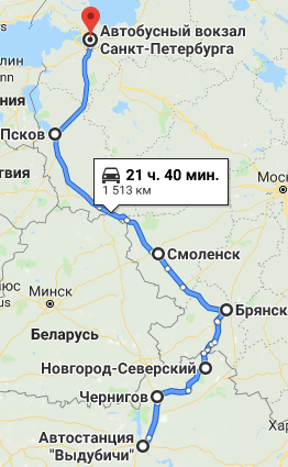 Kiev-Sankt-Peterburg-Route