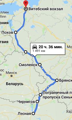 Маршрут автобуса Киев Санкт-Петербург через Сеньковку
